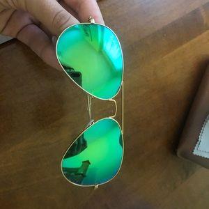 Rayban aviators green flash 58mm sunglasses